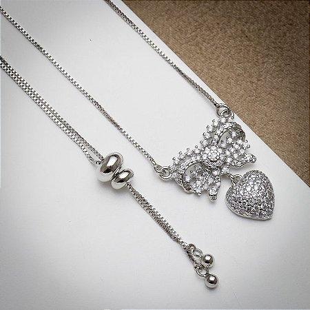 Colar Love Laço Cravejado Micro Zircônias Diamond Luxo Ródio Branco