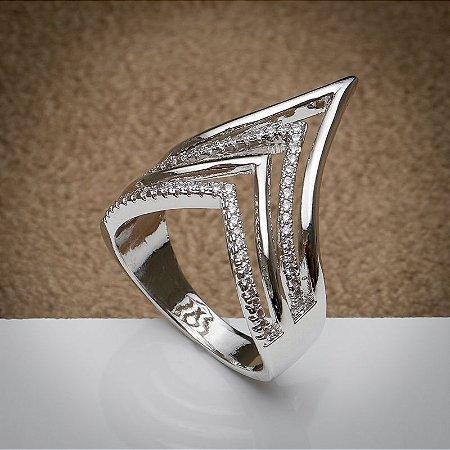 Anel Luxo Pontas Cravação de Zircônias Diamond Ródio Branco