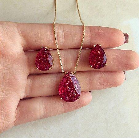 Conjunto Gota Cute Pedra Fusion Rosa Pink
