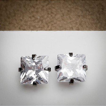 Brinco Quadradinho Grande de Zircônia Diamond Ródio Negro