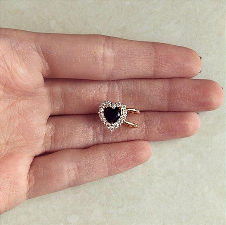 Piercing de Pressão Coração Zircônia Negra/Diamond Dourado