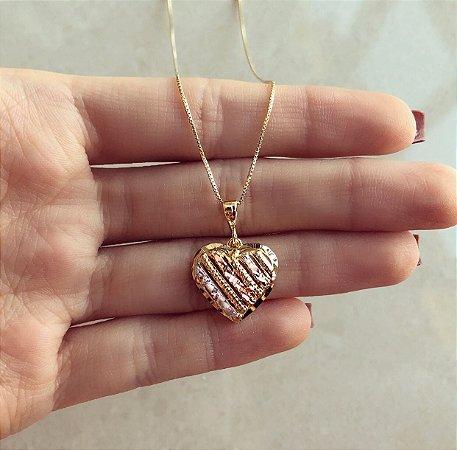 Corrente Coração Trabalhado No Ouro Rosé, Ródio Branco e Ouro 18k