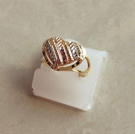 Anel Coração Trabalhado No Ouro Rosé, Ródio Branco e Ouro 18k
