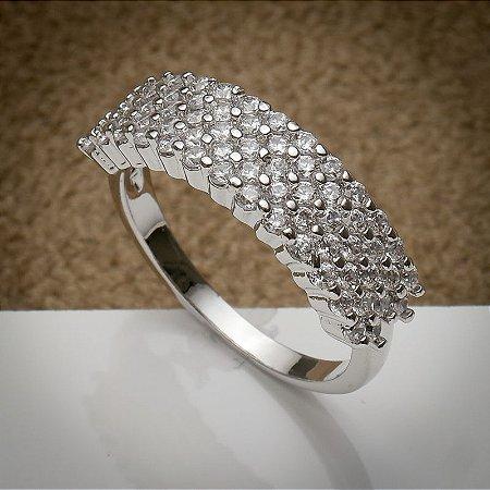 Anel Luxury Fileira De Micro Zircônias Diamond Ródio Branco