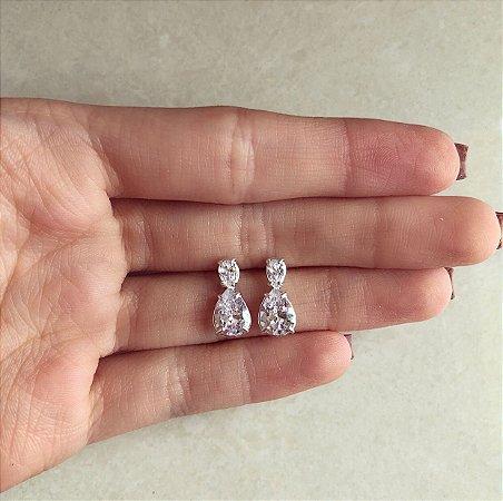 Brinco Duplo de Zircônias Diamond Prata 950