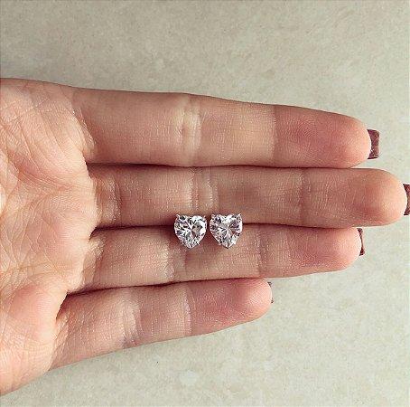 Brinco Coração Médio Maxi Zircônia Diamond Prata 950