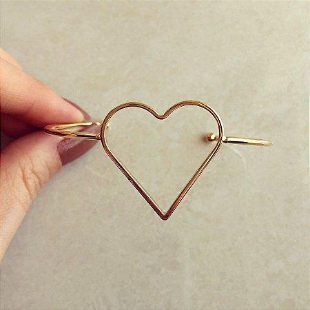 Pulseira/Bracelete Coração Vazado Dourado