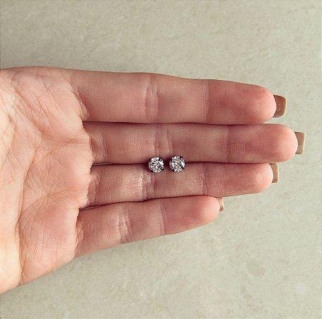 Brinco Pingo de Zircônia Médio Diamond Ródio Negro