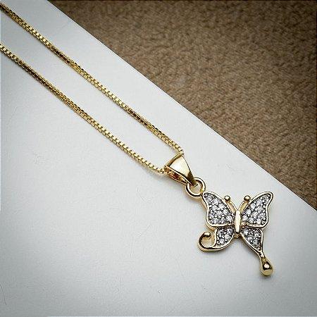 Corrente Borboleta Cravação Micro Zircônias Diamond Dourada
