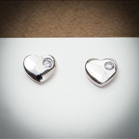 Brinco Coração Liso Ponto de Cristal Diamond Ródio Branco