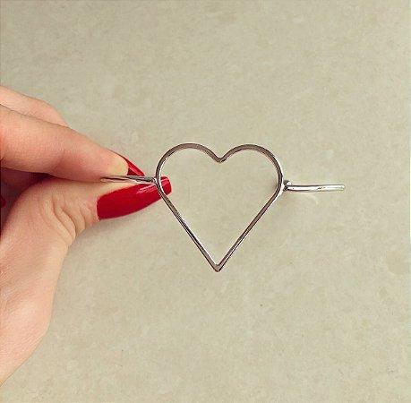 Pulseira/Bracelete Coração Vazado Ródio Branco