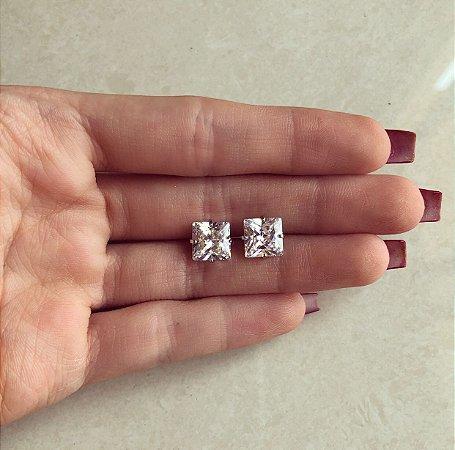 Brinco Quadradinho Grande de Zircônia Diamond Ródio Branco
