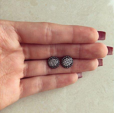 Brinco Bolinha Cravejada com Micro Zircônias Diamond Ródio Negro