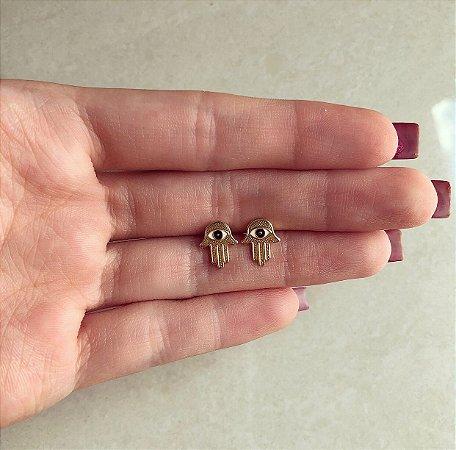 Brinco Delicado Mão de Hamsa Esmaltada Dourado