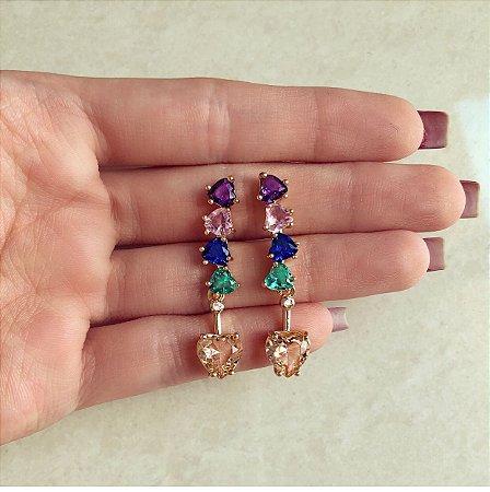 Brinco Corações de Zircônia Colorida (Ametista, Morganita, Esmeralda, Safira Rosa e Azul Marinho)