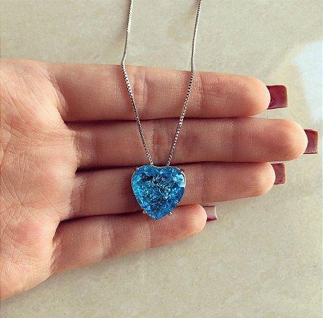 Corrente Coração Pedra Fusion Azul Turquesa Ródio Branco