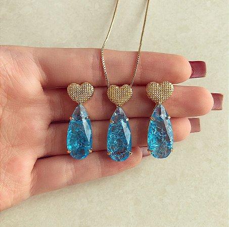 Conjunto Coração Detalhado com Gota de Pedra Fusion Azul Topázio Dourado