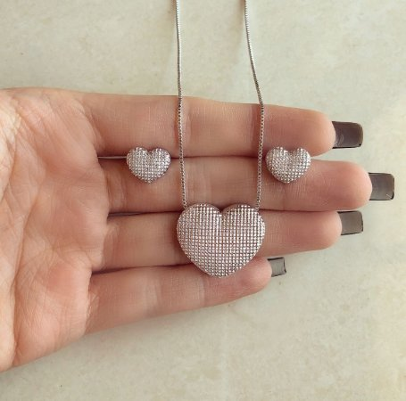 Conjunto Divo Coração Craquelado Ródio Branco