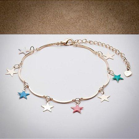 Pulseira Aro com Pingentes de Estrela Esmaltada Colorida Ouro Rosé