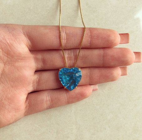 Corrente Coração Pedra Fusion Azul Turquesa Dourado