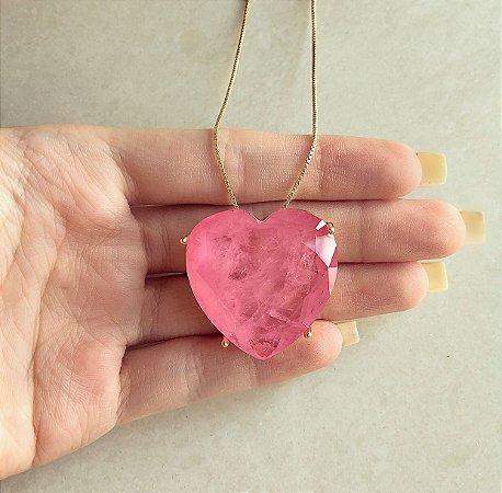 Corrente Maxi Coração Luxo Pedra Fusion Safira Rosa Dourado