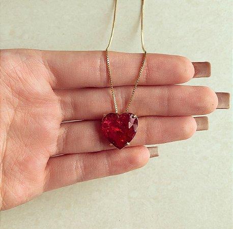 Corrente Coração Pedra Fusion Rubelita Dourado
