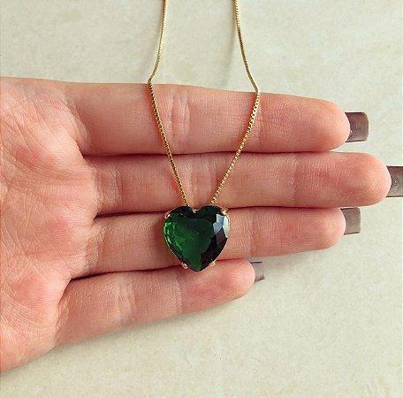 Corrente Coração Cristal Verde Esmeralda Dourado