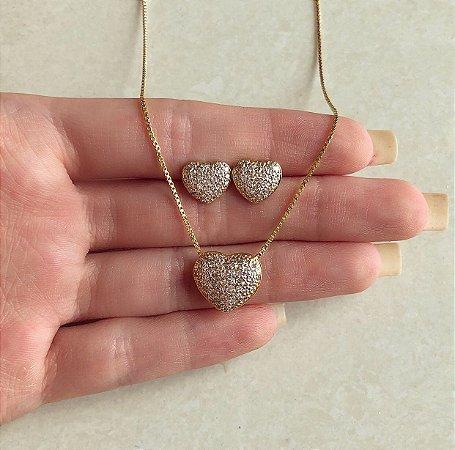 Conjunto Coração Micro Zircônias Diamond Dourado