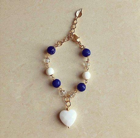 Pulseira Coração Pedra Natural Agata Branca e Azul com Cristais