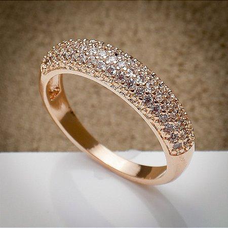 Anel Aparador Cravação de Zircônias Diamond Ouro Rosé