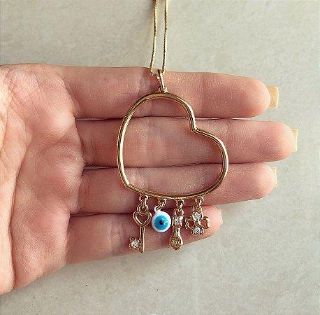 Corrente Coração Pingentes (Chave, Figa, Trevo 4 Folhas e Olho Grego) Zircônias Diamond Dourado