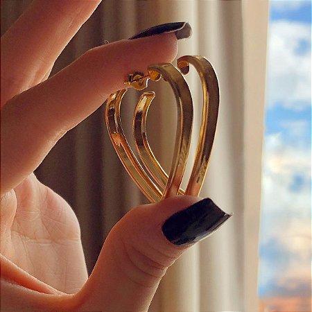 Argola Média Coração Grossa Dourado