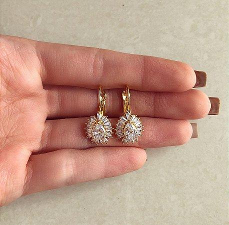Argolinha Gota Cravação Navetes de Zircônias Diamond Dourado