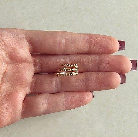 Piercing de Pressão Triplo Mini Bolinhas Dourado