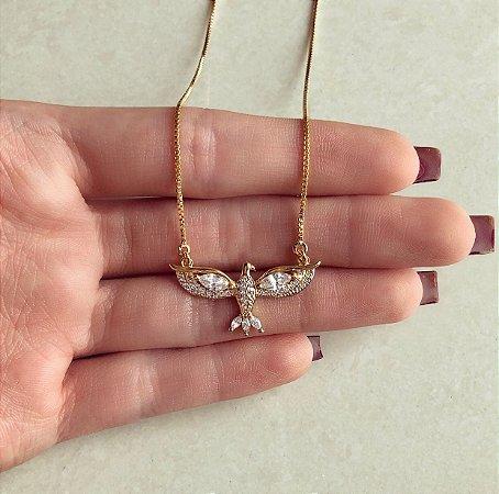 Corrente Espírito Santo Cravação Zircônias Diamond Dourado