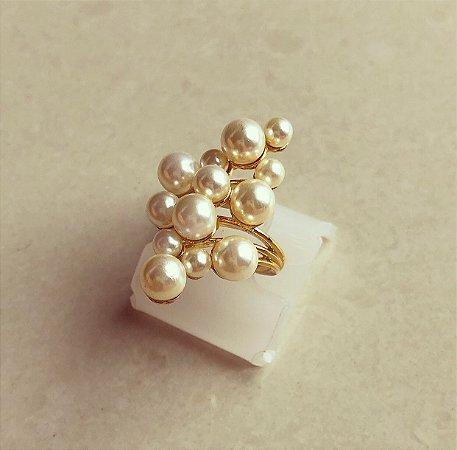 Anel Cacho de Mil Pérolas Dourado