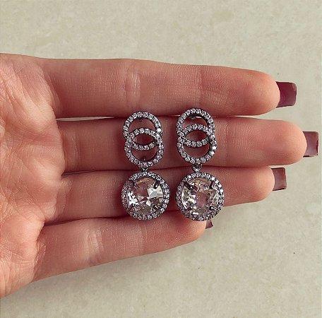 Brinco Princesa Cravação Zircônias Diamond Ródio Negro