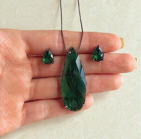 Conjunto Maxi Gota Luxo Pedra Raiada Verde Esmeralda Ródio Negro