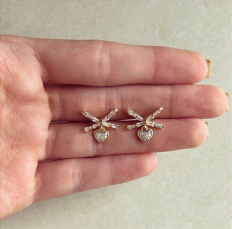 Brinco Laço Cravação Navetes e Micro Zircônias Diamond Dourado