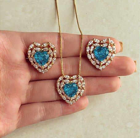Conjunto Maxi Coração Divo Mil Navetes de Zircônias Diamond e Pedra Fusion Azul Topázio Dourado