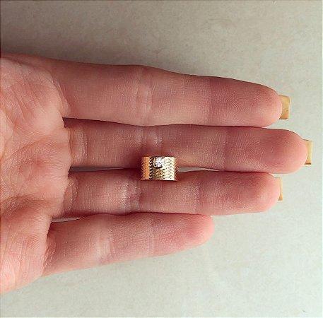 Piercing de Pressão Com Ponto de Zircônia Diamond Dourado
