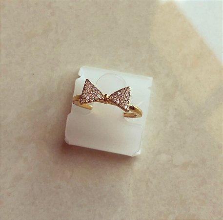 Anel Laço Micro Cravação de Zircônias Diamond Dourado
