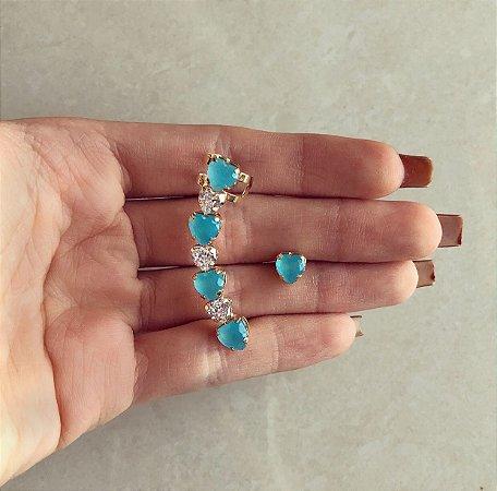 Ear Cuff Grécia Corações Zircônias Leitosa Azul Claro e Diamond Dourado