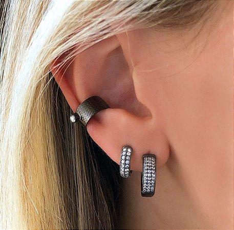Piercing de Pressão com Ponto De Zircônia Diamond Ródio Negro