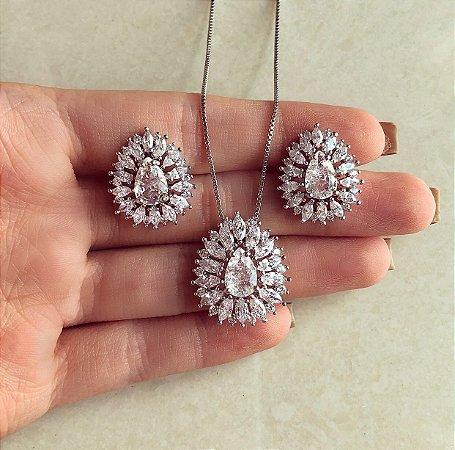 Conjunto Luxury Gota Cravação Micro/Maxi Zircônias Diamond Ródio Branco