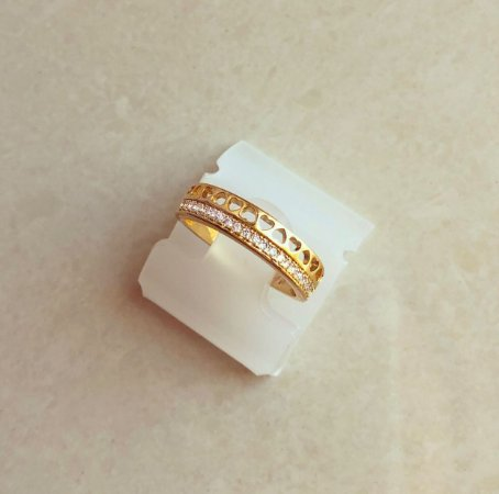 Anel Corações Micro Zircônias Diamond Dourado