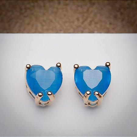 Brinco Coração Pedra Calcedônia Azul Topázio Ouro Rosé