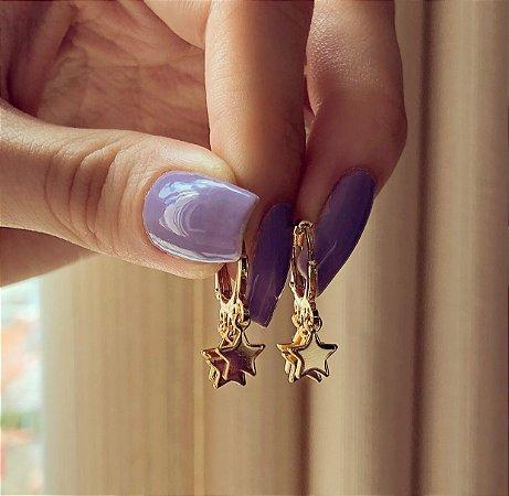 Argolinha de Estrela Tripla Dourado