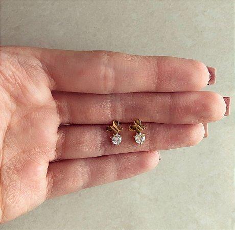 Brinco Borboleta com Pingo de Zircônia Diamond Dourado