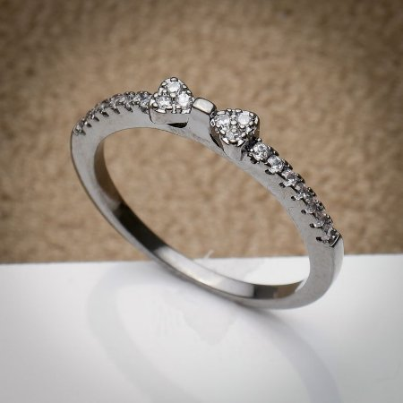 Anel Laço Cravação Micro Zircônias Diamond Ródio Negro